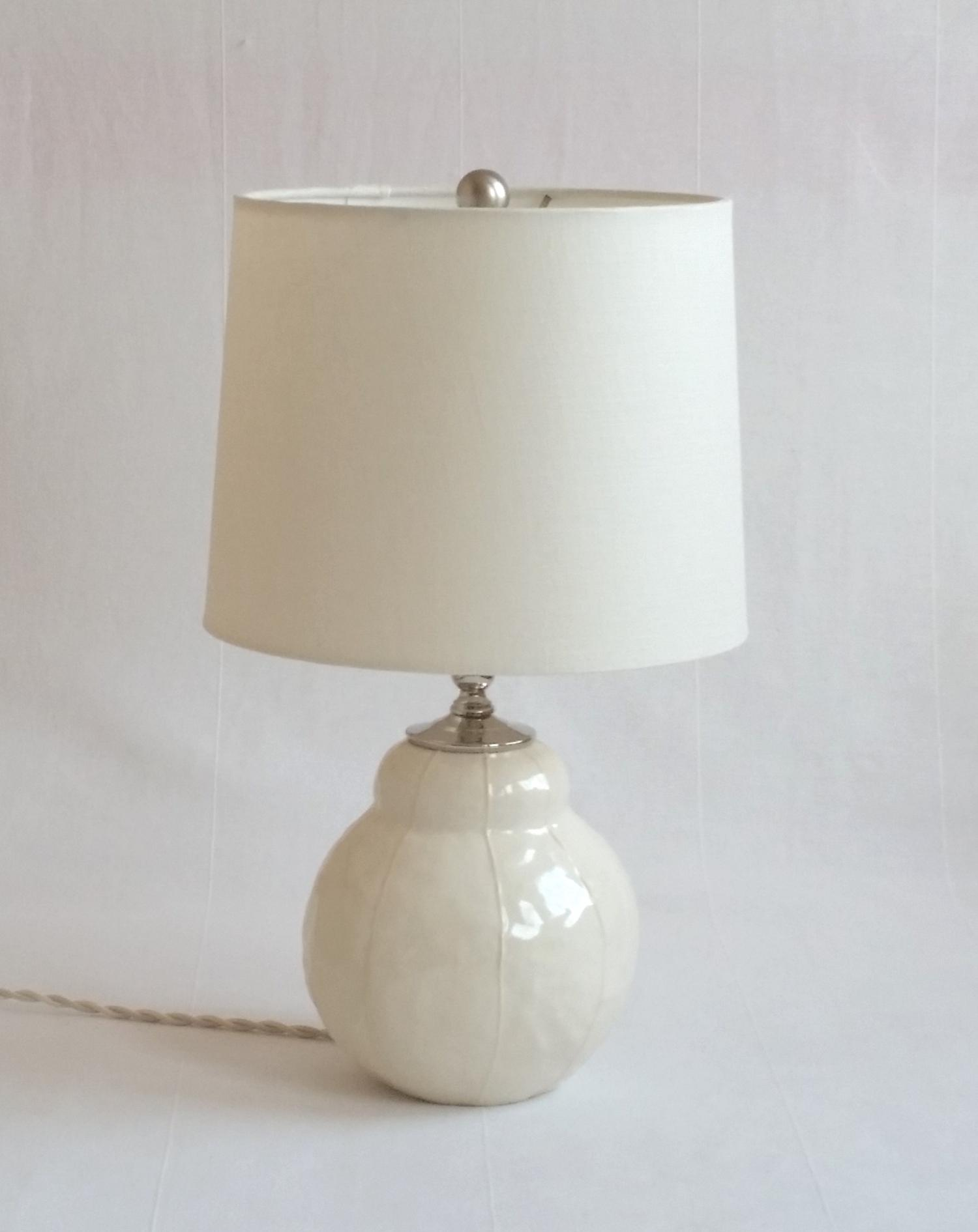 VIT ceramics Bubble lamp, drum shade, white, contemporary pottery lamp base, modern, handmade, Kri Kri Studio, Seattle